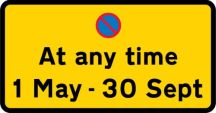 No waiting at any time 1 May - 30 Sept