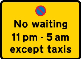No waiting 11pm - 5am except taxis