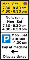 sign with no waitin, no loading, and pay & display restrictions