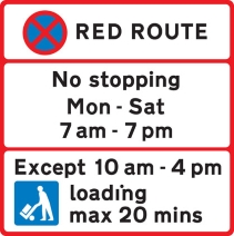 Red Route No Stopping Mon - Sat 7am - 7pm except 10am - 4pm loading max 20 mins