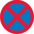 No Stopping - blue circlie with red outline and diagonal cross