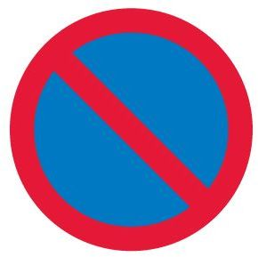 no waiting symbol - blue circle with red outline and diagonal line