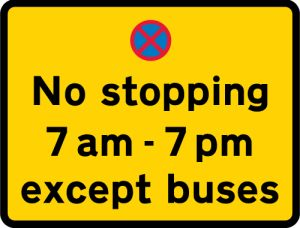 No stopping 7am - 7pm except buses